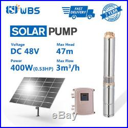3 DC Solar Water Pump 48V 400W Submersible MPPT Controller Kit Deep Bore Well