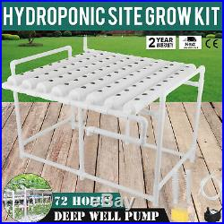72 Planting Site Hydroponic Grow Kit Plant Deep Water Pump Vegetable Tool Garden