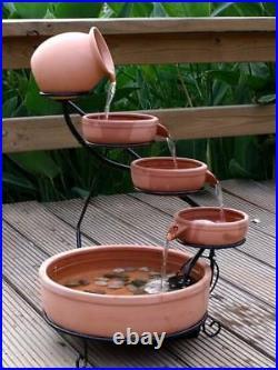 ASC Sundance Terracotta Solar Water Fountain Cascade with Pump Kit Daytime Version