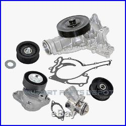 Belt Tensioner + Idler Pulley + Water Pump + Thermostat Kit Mercedes (5pcs) New