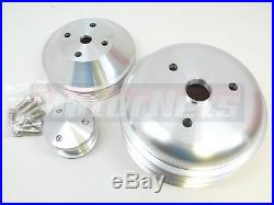 Billet Aluminum SBC Chevy Long Water Pump Serpentine Pulley Conversion kit LWP