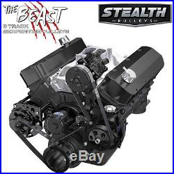 Black Big Block Chevy Serpentine Pulley Kit, Electric Water Pump 396 454 BBC A/C