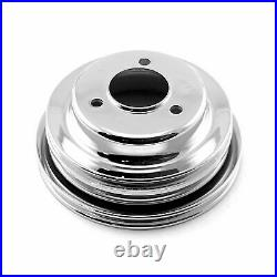 CHROME BB Chevy Steel Pulley Power Steering 396 427 454 BBC LWP KIT NEW