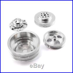 Chevy SBC Serpentine Pulley Kit Long Water Pump with Type 2 Power Steering Pump