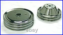 Chrome Small Block Chevy Steel Short Water Pump and Crankshaft Pulley Kit 2/3