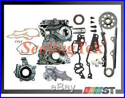 Fit 85-95 Toyota 22R 22RE Timing Chain Kit STEEL GUIDE with Cover Oil Water Pump