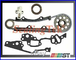 Fit 85-95 Toyota 22R 22RE Timing Chain Kit with Cover + Oil Water Pump combo set