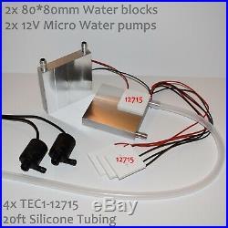 Large Water Cooling Peltier Kit 4x TEC1-12715, 2 Pumps, 8080 blocks, tubing