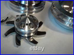 (POLISHED) Finish Aluminum Small Chevy SBC 2 Groove Long Pump Pulley Kit 350