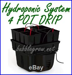 Platinium Hydro Star 40 4 Pot Drip Hydroponic System + Waterpump Kit Growing Pla