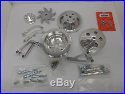 SB Chevy Complete LWP Aluminum Pulleys / Brackets & Bolt Kit XO13