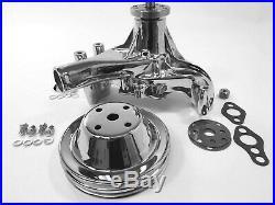 SB Chevy Long Water Pump SBC 283 327 350 383 400 High Volume + Pulley Chrome Kit