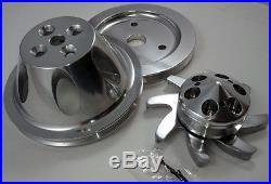 SB Chevy Polished Billet 1 Groove / Belt Short Water Pump Pulley Kit 283 327 350
