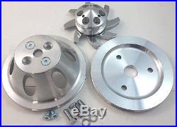 SB Chevy SBC 1 Groove Belt Aluminum Pulley Kit SWP Short Water Pump 283 327 350