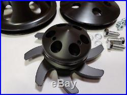 SB Chevy SBC Aluminum Long Water Pump Black Billet 1 / 2 Pulley Kit 327-350