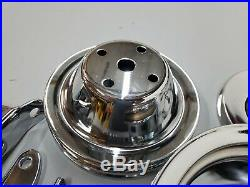 SB Chevy SBC Chrome Steel Long Water Pump Pulley Kit With Brackets 327 350 400 V8