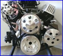 SB Chevy SBC Complete Long Pump Aluminum Pulley Kit NO WATER PUMP Option 327 350