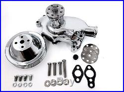 SB Chevy Water Pump Short SBC 350 V8 High Volume CHROME Pulley Kit 2 Grooves
