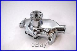 SB Chevy Water Pump Short SBC 350 V8 High Volume CHROME WP Pulley Kit 1 Groove