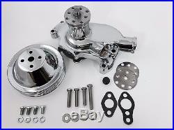 SB Chevy Water Pump Short SBC 350 V8 High Volume CHROME WP Pulley Kit 2 Groove