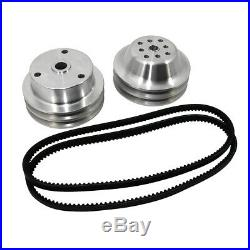 SBC Chevy 350 Long Water Pump and Crank Aluminum Pulley Kit 11 Double Groove