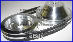 SBC Chevy 350 Long Water Pump and Crank Aluminum Pulley Kit 20% Double Groove