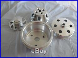 SBC MACHINED Billet Aluminum Serpentine Pulley Kit Long Water Pump LWP with P/S