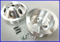 SBC Small Block Chevy 2 / 3 Groove Aluminum Long Water Pump Pulley Kit 327 350