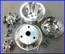 SBC Small Block Chevy 2 Groove Aluminum Long Water Pump Pulley Kit 327 350 400