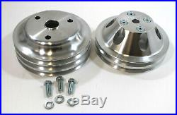 SBC Small Block Chevy 2 and 3 Groove Aluminum Long Water Pump Pulley kit