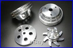SBC Small Block Chevy Aluminum 2 Groove Long Water Pump Pulley Kit 327 350 400