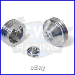 SBC Small Block Chevy V-Belt Pulley Kit 350 SWP Short Water Pump A/C Vintage AC