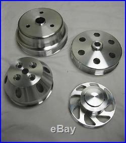 Small Block Chevy 350 Long Water Pump Serpentine Aluminum Pulley Kit SBC DISPLAY