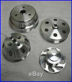 Small Block Chevy 350 Long Water Pump Serpentine Aluminum Pulley Kit Set SBC (4)