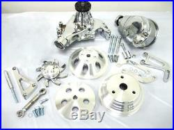 Small Block Chevy Aluminum Pulley & Bracket Kit w Power Steering Long Water Pump