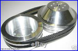 Small Block Chevy Aluminum Pulley Kit 20% Reduction for Short Water Pump SBC 350