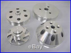 Small Block Chevy Billet Aluminum Serpentine Pulley Kit Short Water Pump Set 350
