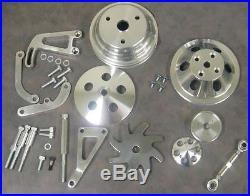 Small Block Chevy Long Water Pump Pulley Kit Alternator & Power Steering Bracket