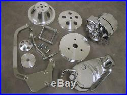 Small Block Chevy Short Water Pump Pulley Kit w Alternator & Power Steering Pump