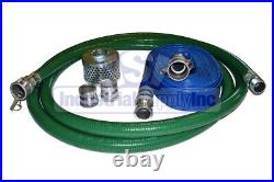 Suction Hose PVC Green Standard 3 x 20 FT Conventional Kit 75 FT Blue