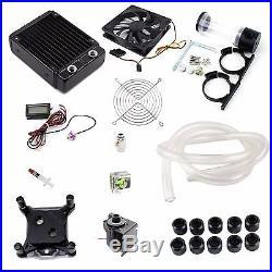 Water Cooling Kit 120mm Radiator 45mmT CPU Block 14W Pump 140mm Reservoir Tubing