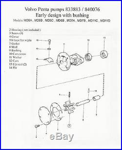 Water Pump Rebuild Kit Volvo Penta 833883 840076 MD5A MD6 MD7 MD11C MD11D